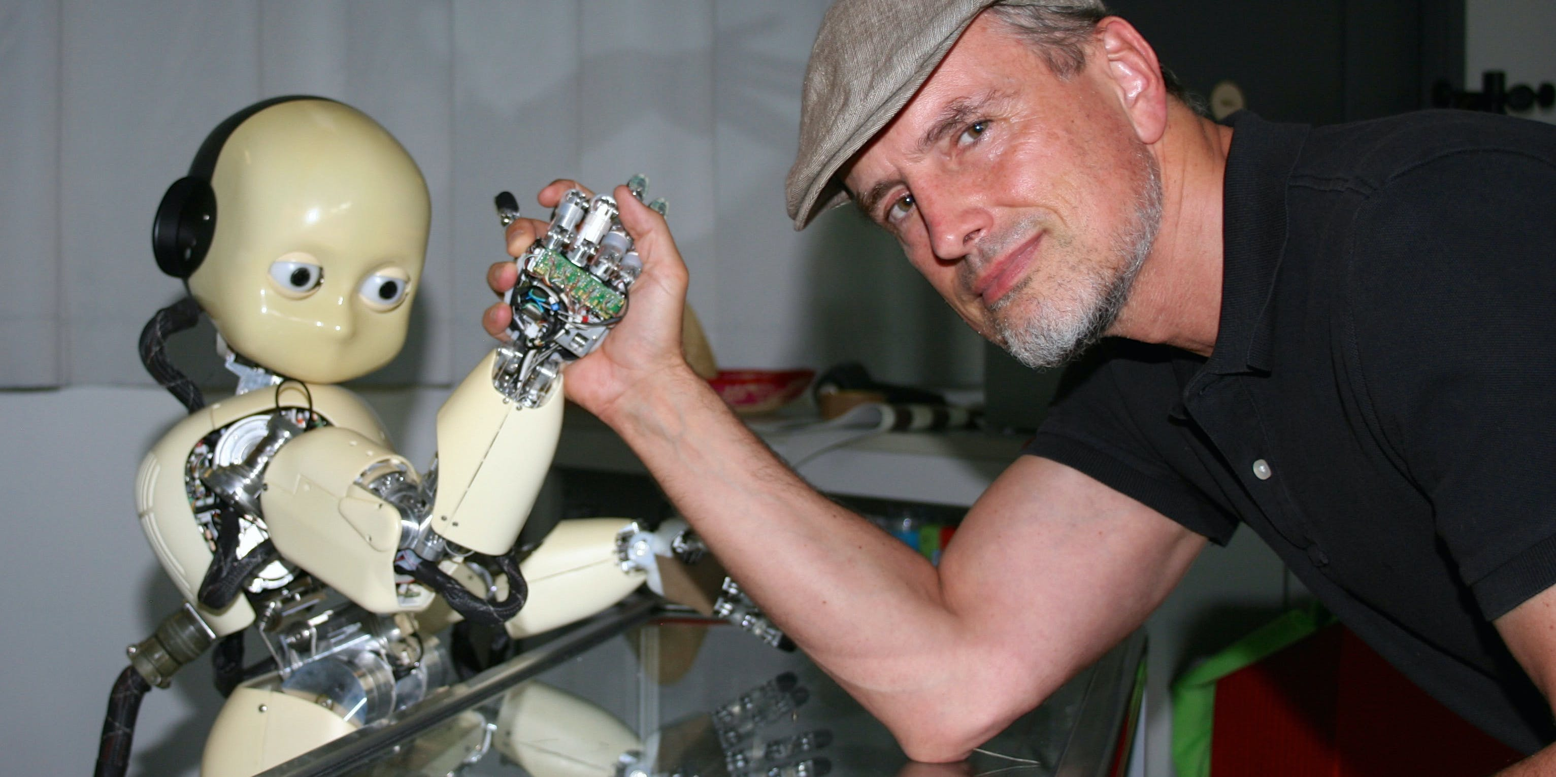 Schmidhuber with an android.