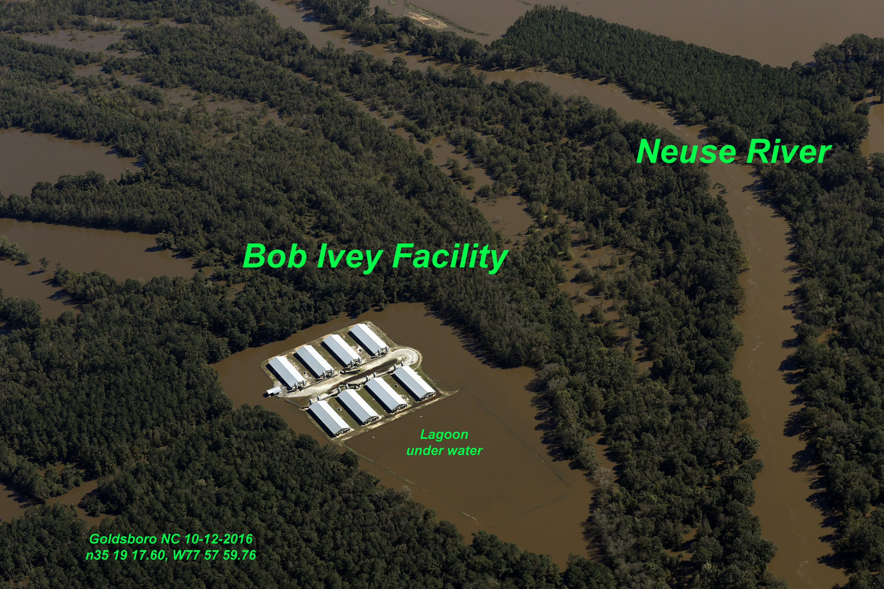 Waterkeeper Alliance has documented flooded sewage lagoons on North Carolina animal farms.