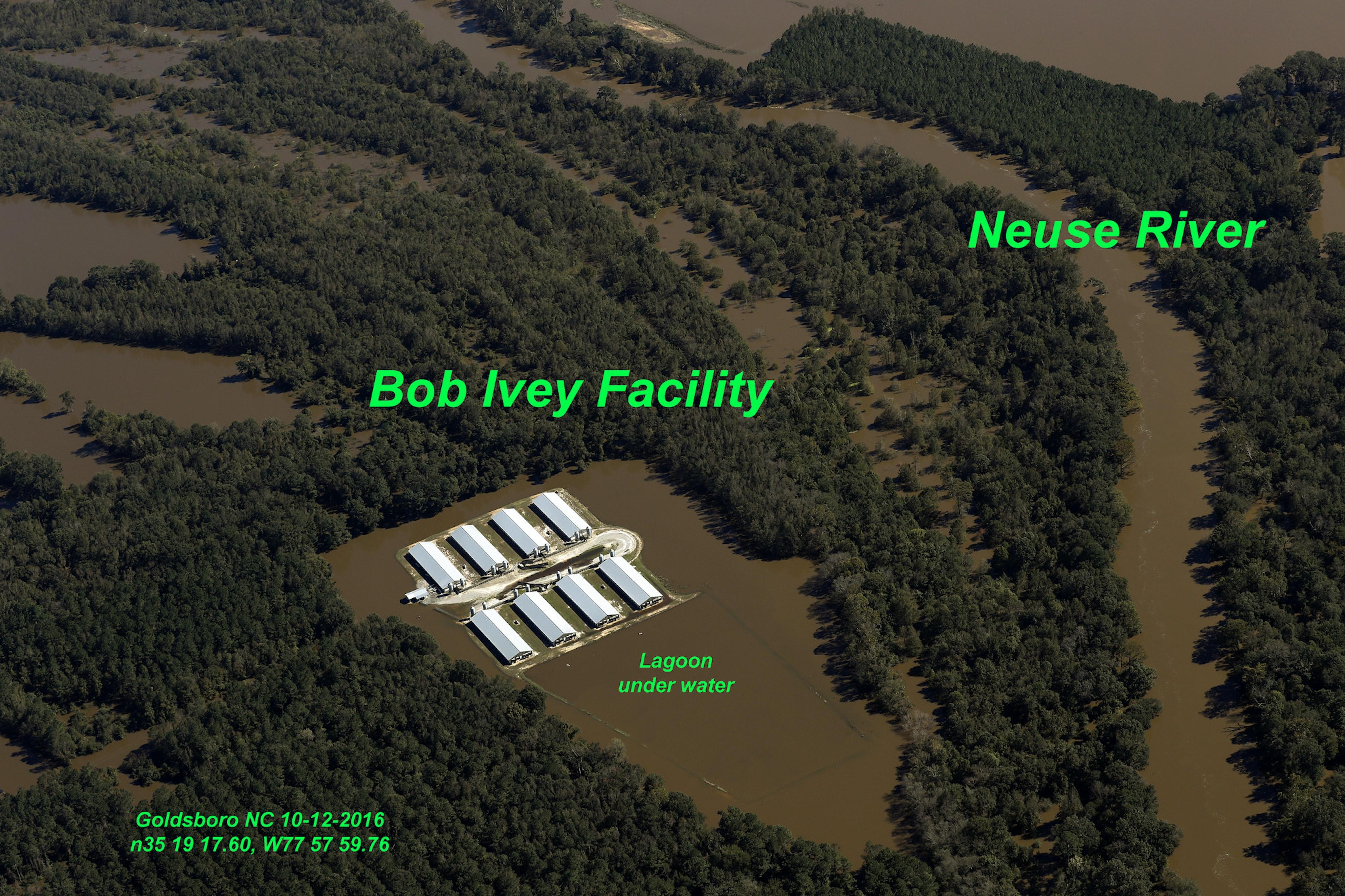 Waterkeeper Alliance has documented flooded sewage lagoons on North Carolina animal farms.