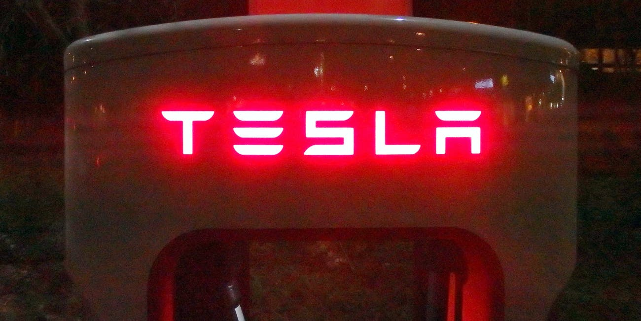 Red light logo Tesla Supercharger Oosterhout Brabant Holland