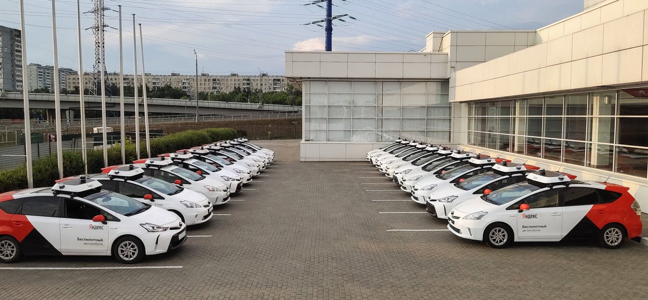 Yandex's cars lined up.