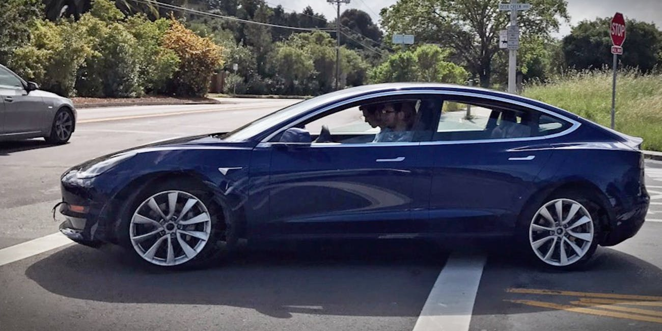 A blue Tesla Model 3 spotted this week.