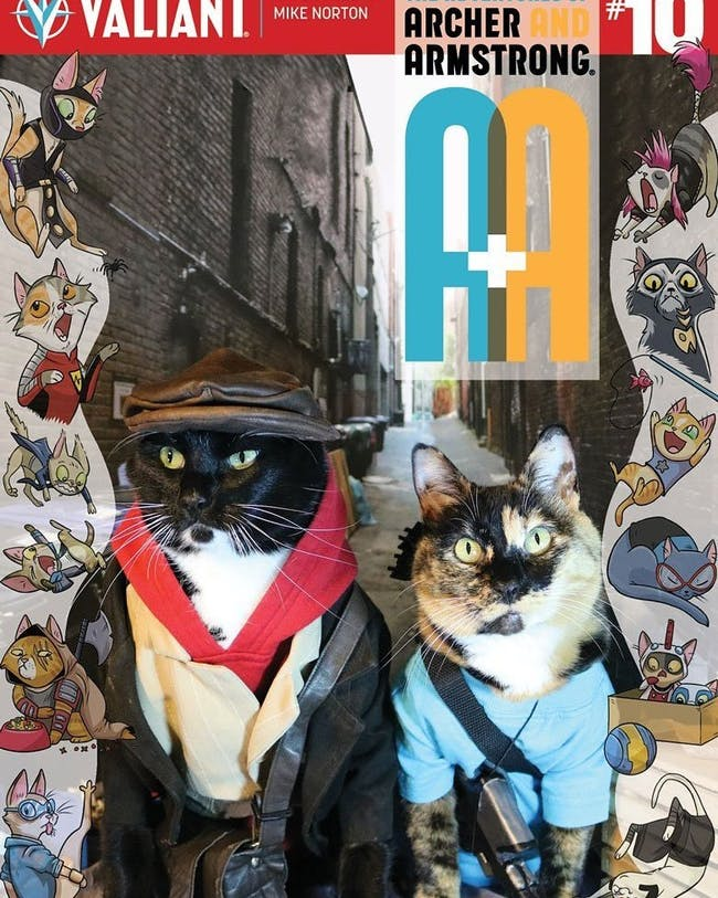 Cat Cosplay Variant Cover for Archer and Armstrong