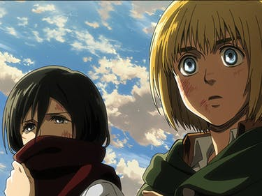 Mikasa and Armin are devastated by what's happened.