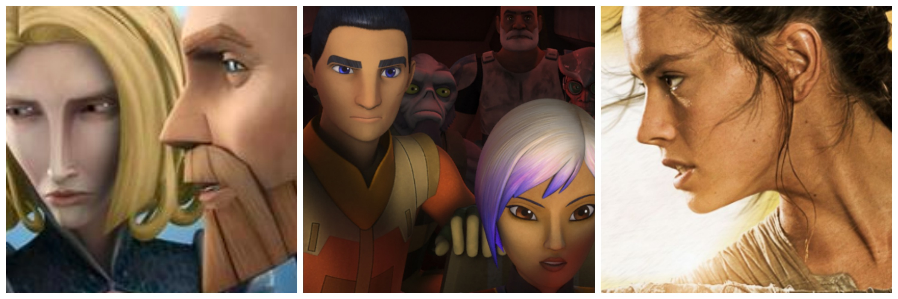 LEFT: Satine and Obi-Wan. CENTER: Ezra and Sabine. RIGHT: Rey