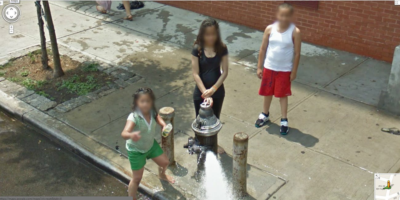 kids fire hydrant explosion dance summer new york city google street view map cars camera