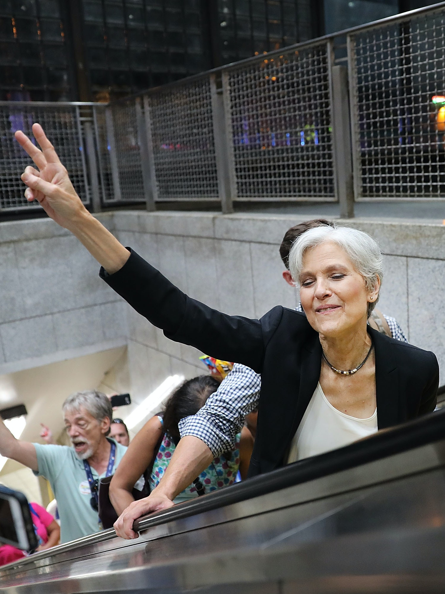 Green Party candidate Jill Stein speaks with supporters in downtown Philadelphia during events at the Democratic National Convention (DNC) on July 26, 2016.