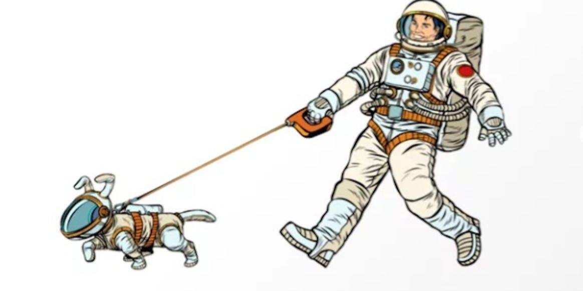 Astronaut Dog Walks Astronaut Human Art Print