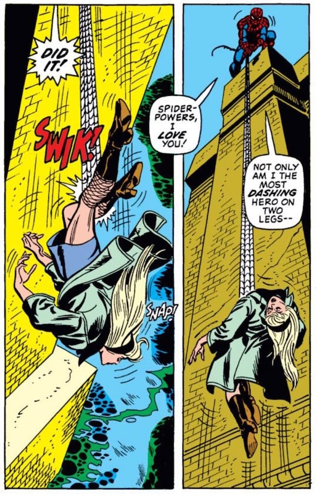 """'The Amazing Spider-Man' #122, """"The Goblin's Last Stand"""" where Peter tries to save the love of his life, Gwen Stacy, at the George Washington Bridge."""