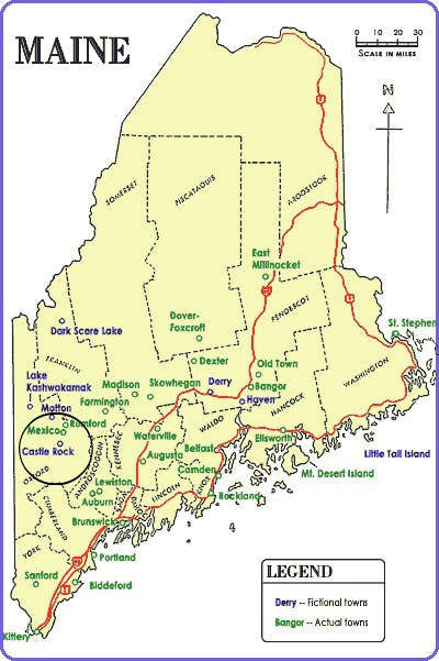 Stephen King's fictional Castle Rock is located in Central-West Maine, just south of Rumford and Mexico, Maine.