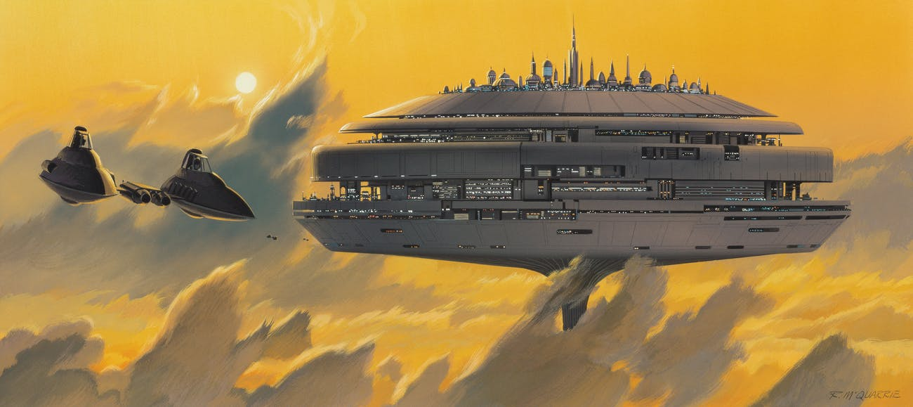 """McQuarrie's """"Cloud City"""", completed in January 1978."""