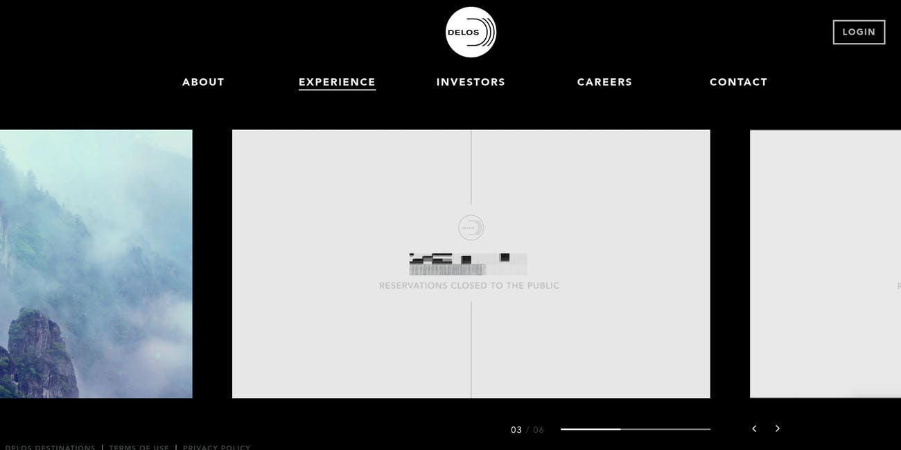 Screenshot for fictional Delos website on 'Westworld'