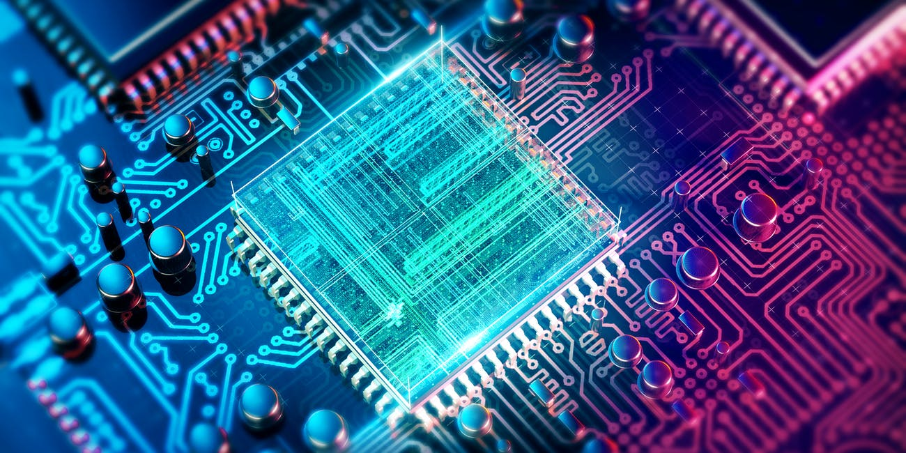 Quantum computer chip filled with light dazzling