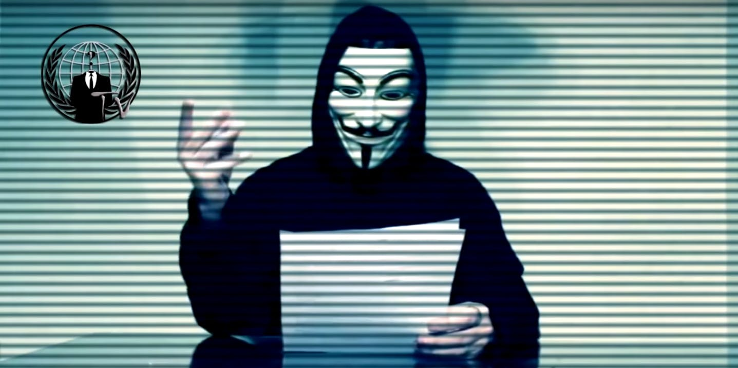 Anonymous in a video took credit for the attacks against Donald Tump's websites on April 1, 2016.