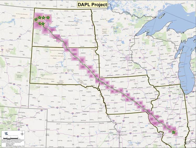 The route. The contested and protested area is in the southern part of North Dakota.