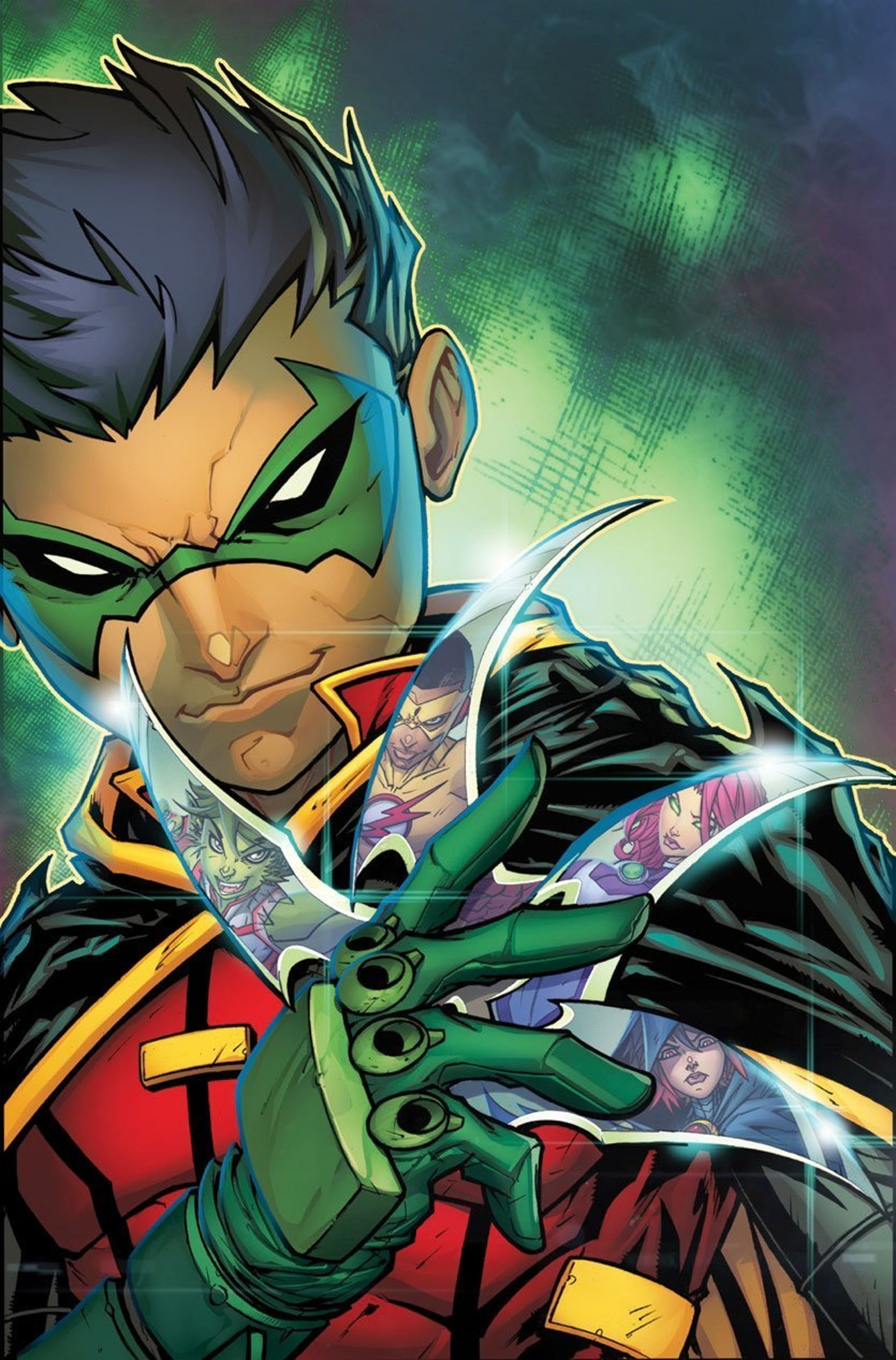 Damian Wayne, dressed as Robin, assembles his deadly team of teenagers.