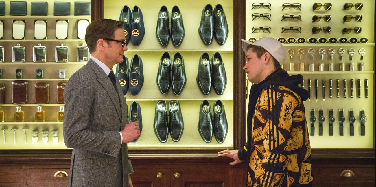 Eggsy and Harry Hart in 'Kingsman'