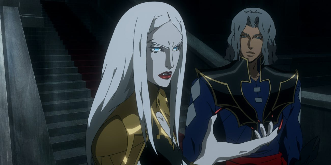 Carmilla and Hector in 'Castlevania' Season 2.