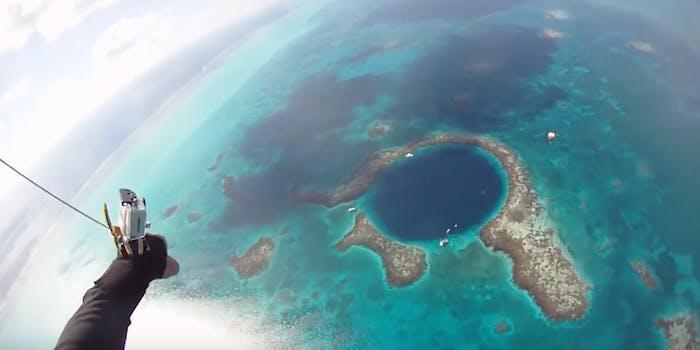 skydive into sinkhole