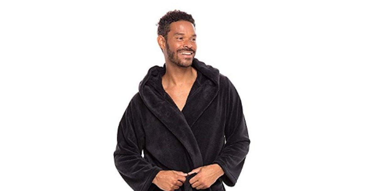 Alexander Del Rossa Men's Warm Fleece Robe with Hood