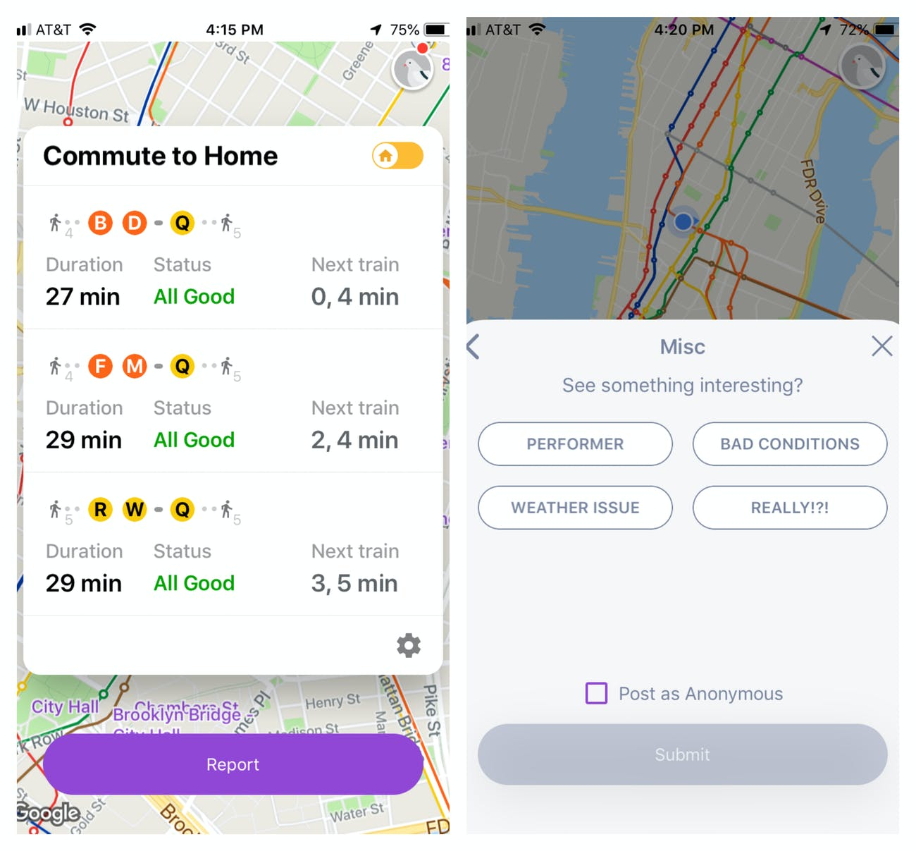 """On the left, an example of Pigeon's commute interface. On the right, an example of how to pick a """"miscellaneous"""" reason for filing a report at a subway station."""