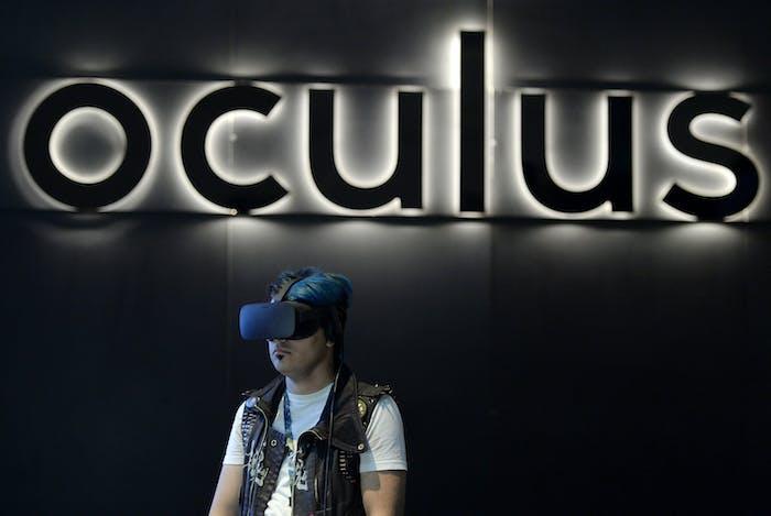A gamer uses an Oculus Rift headset.
