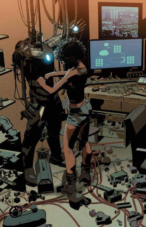 It's notable that most of the pre-released art featuring Riri depicts her as Bendis describes her: alone in her garage.