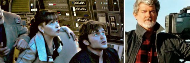 Han Solo, Qi'ra, Chewbacca and George Lucas