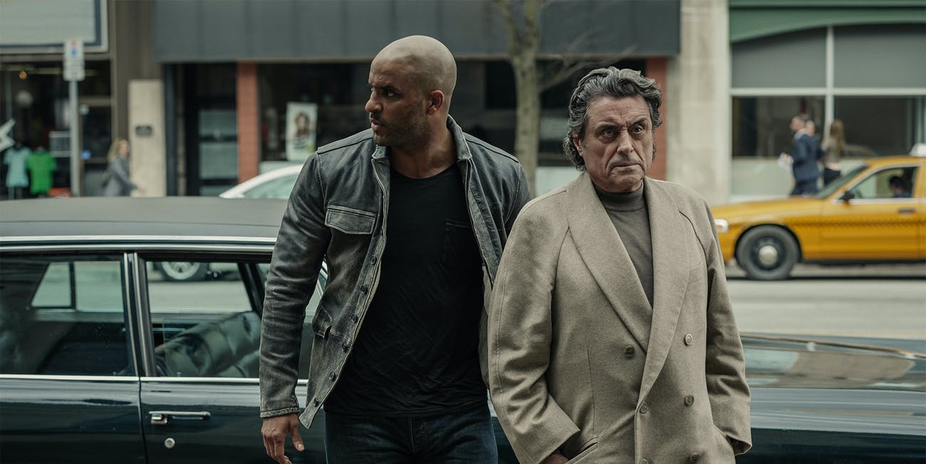 Wednesday and Shadow in 'American Gods' episode 3, 'Head full of snow'