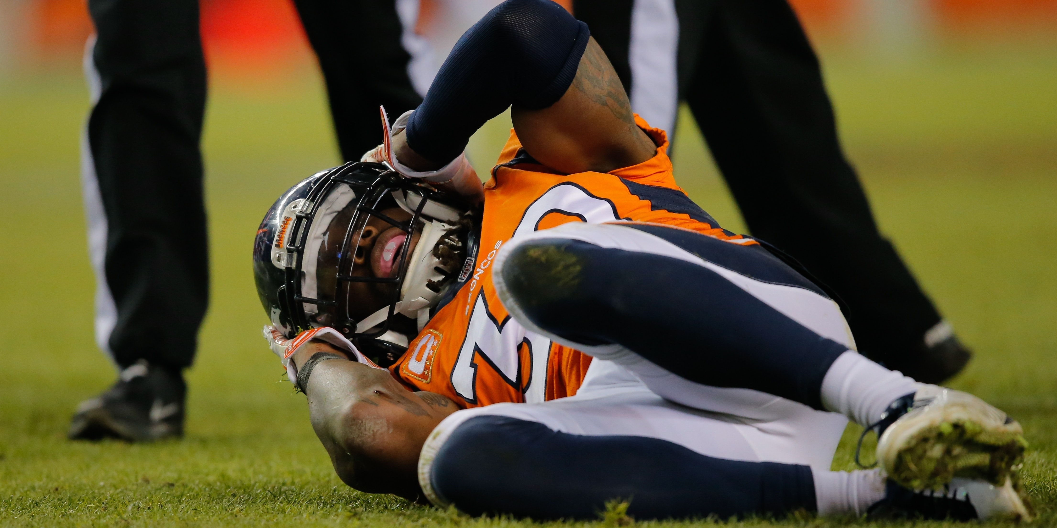 David Bruton of the Denver Broncos suffered a concussion in 2014.