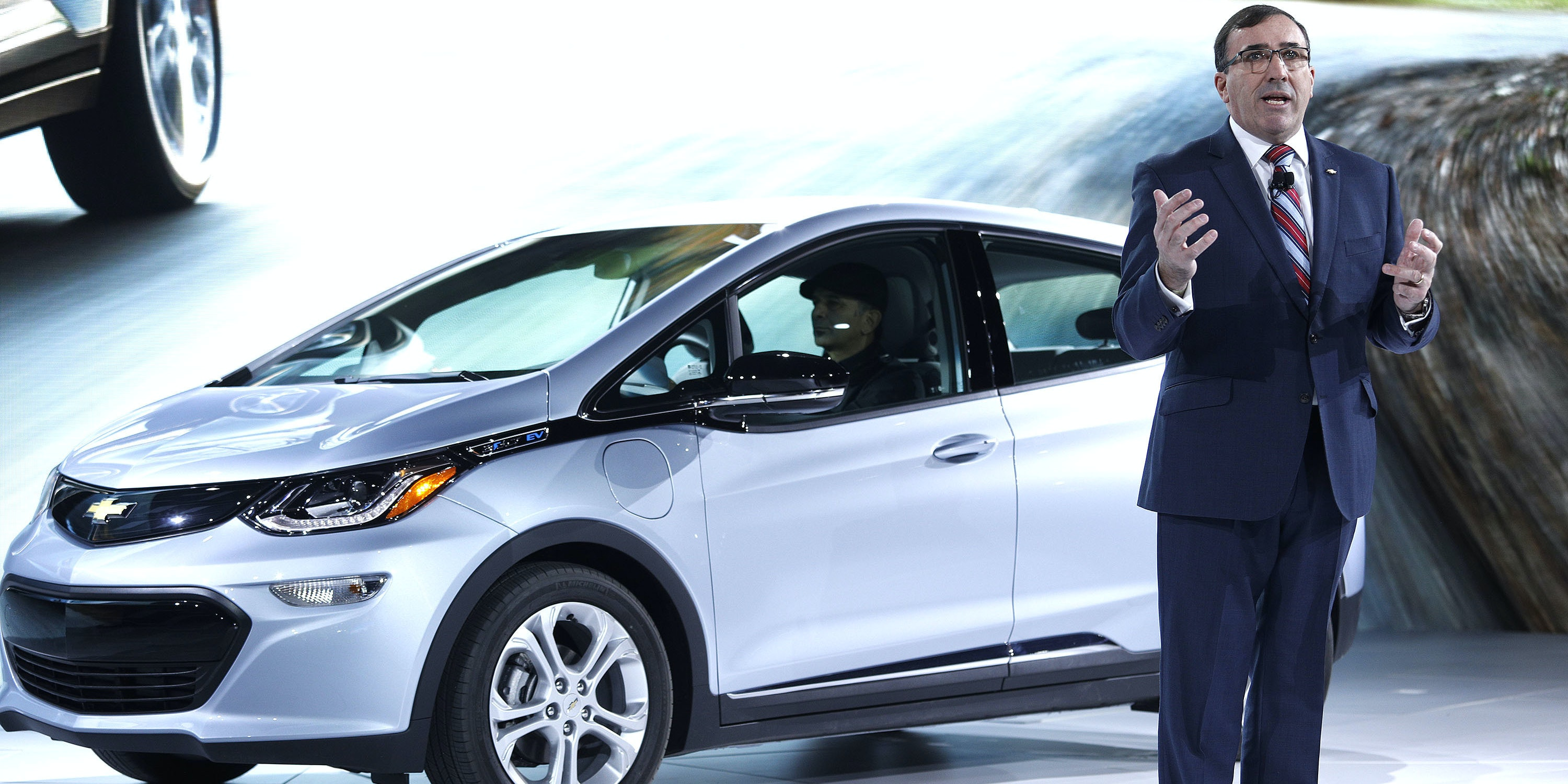 DETROIT, MI - JANUARY 9: Alan Batey, General Motors  President of North America, talks about the all-electric Chevrolet Bolt EV, which won the Car of the Year Award at the 2017 North American International Auto Show on January 9, 2017 in Detroit, Michigan. Approximately 5000 journalists from around the world and nearly 800,000 people are expected to attend the NAIAS between January 8th and January 22nd to see the more than 750 vehicles and numerous interactive displays. (Photo by Bill Pugliano/Getty Images)
