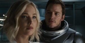 Chris Pratt and Jennifer Lawrence in the 'Passengers' Trailer