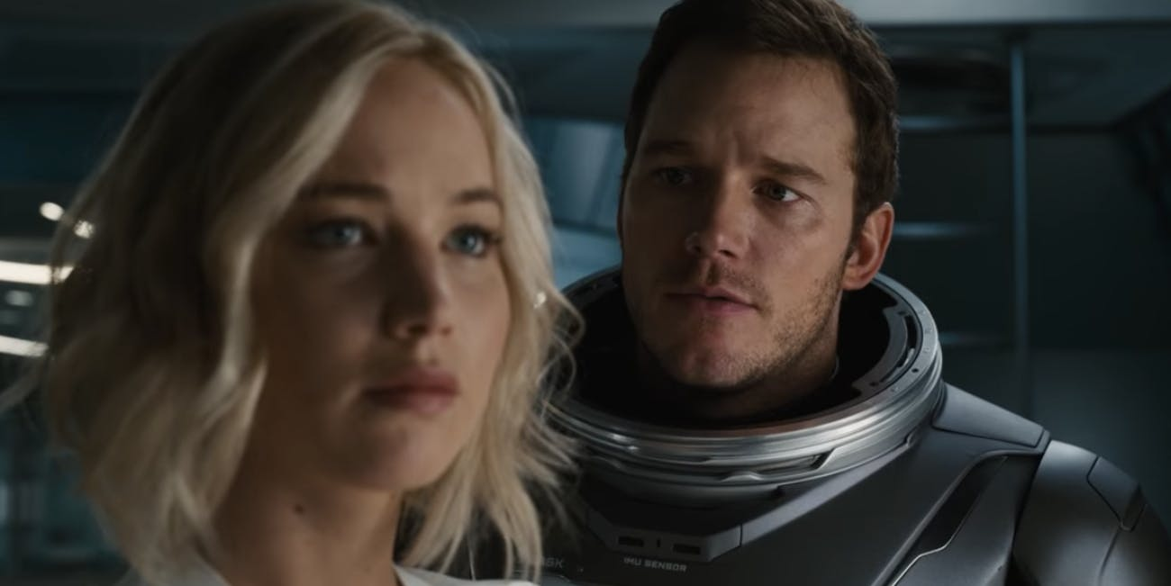 Chris Pratt and Jennifer Lawrence in the 'Passengers' Trailer
