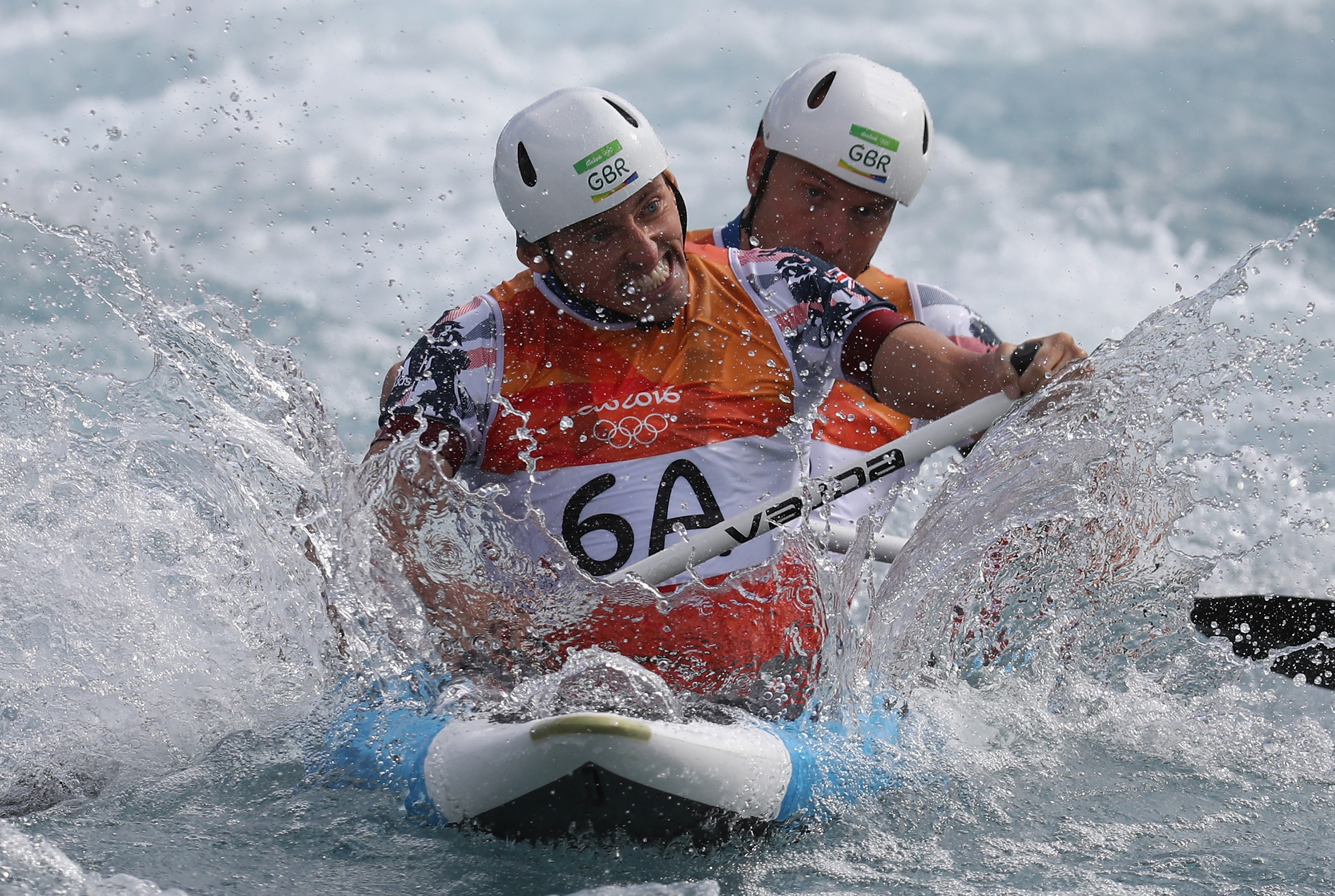 David Florence of Great Britain and Richard Hounslow of Great Britain during the Men's Canoe Double.