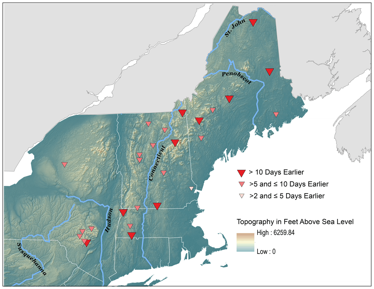 Changes in snowmelt-related streamflow timing for rivers, 1960-2014, show that snow is melting earlier in the year in the Northeast.