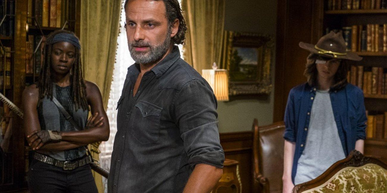 Michonne, Rick and Carl gather on 'The Walking Dead' mid-season premiere.