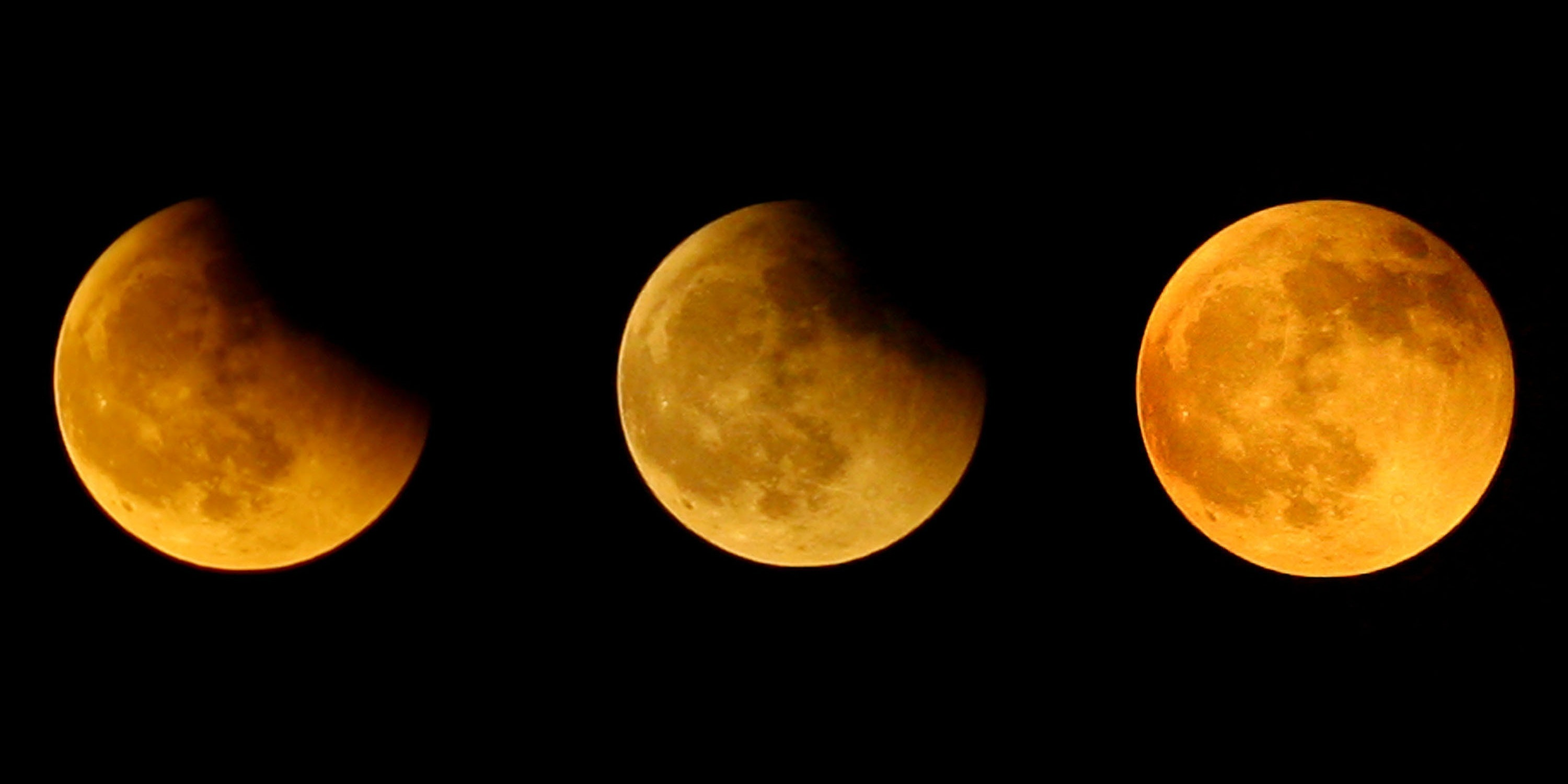 CHONGQING, CHINA - AUGUST 28: (CHINA OUT) This combination photo illustration shows a partial lunar eclipse on August 28, 2007 in Chongqing Municipality, China. The spectacle was visible in most parts of China and some countries in Southeast Asia today.  (Photo by China Photos/Getty Images)