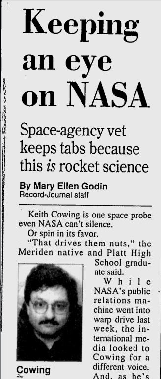 Cowing in '99: Proud to drive NASA nuts.