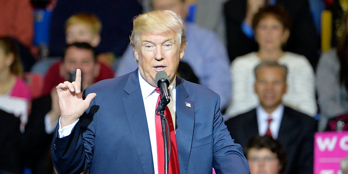 President-elect Donald Trump addresses an audience at Crown Coliseum on December 6, 2016 in Fayetteville, North Carolina. Trump took time off from selecting the cabinet for his incoming administration to celebrate his victory in the general election.