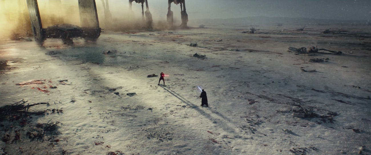 Kylo Ren faces off against Luke Skywalker's projection in 'The Last Jedi'.