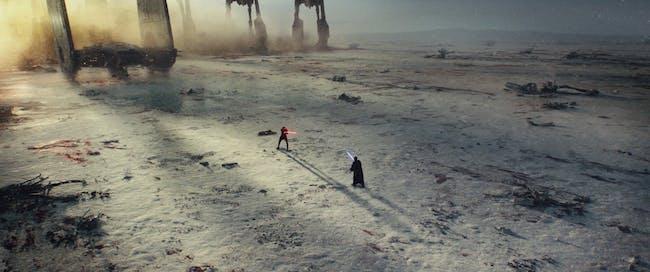 Kylo Ren faces off against Luke Skywalker's projection in 'The Last Jedi'.