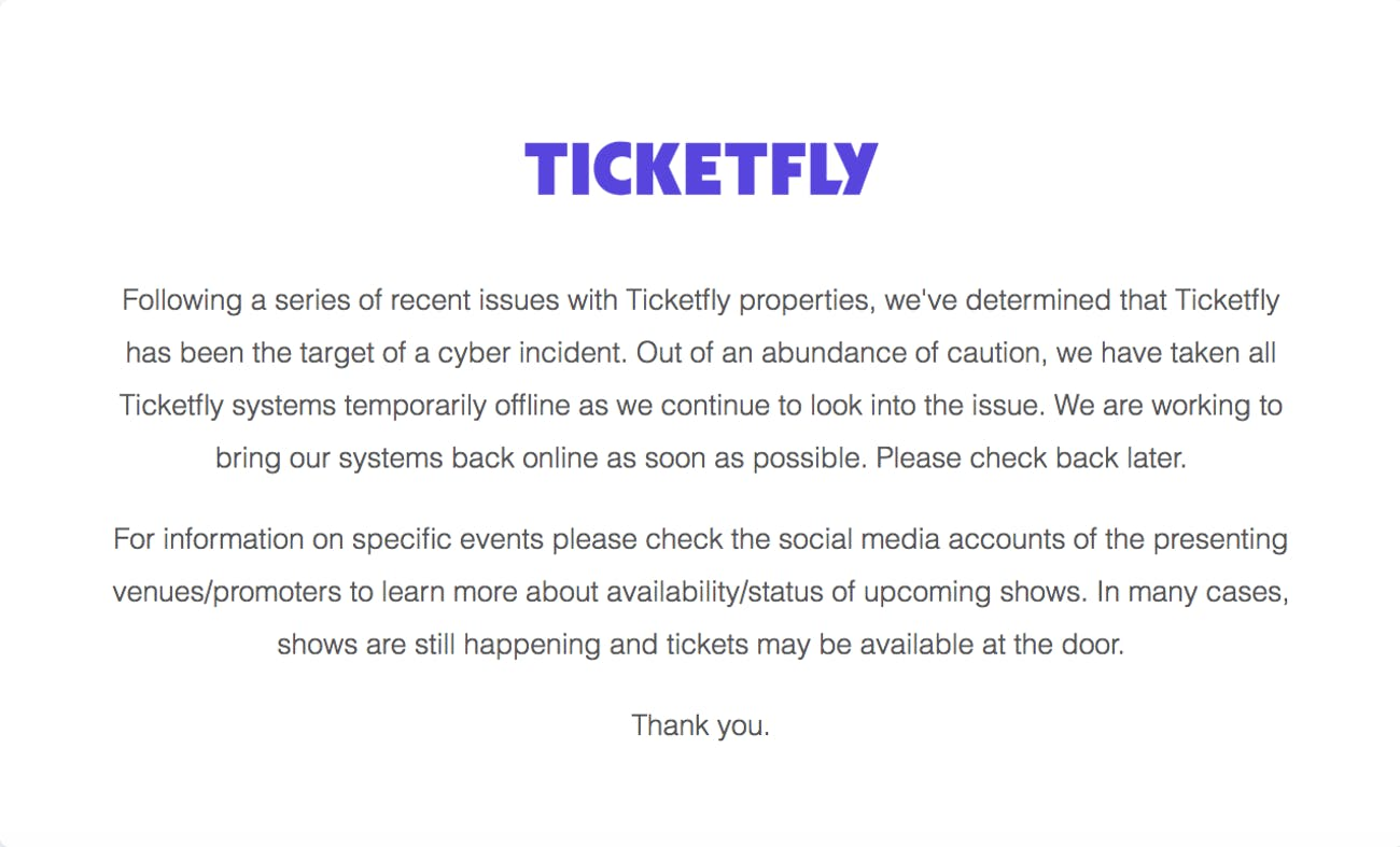 Ticketfly Hack: Website Shuts Down After
