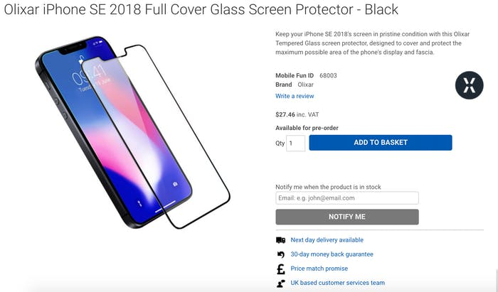 iphone SE 2 screen protector rumor