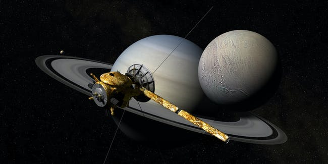 Cassini over Enceladu