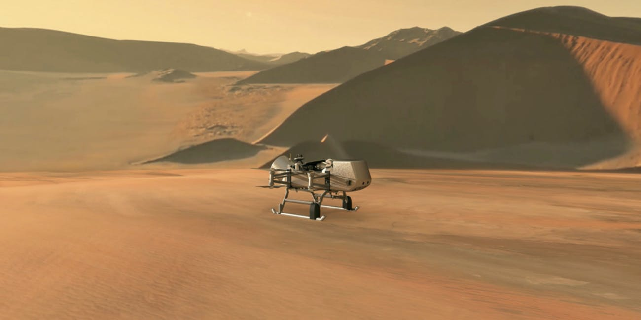 NASA Dragonfly spacecraft on Titan