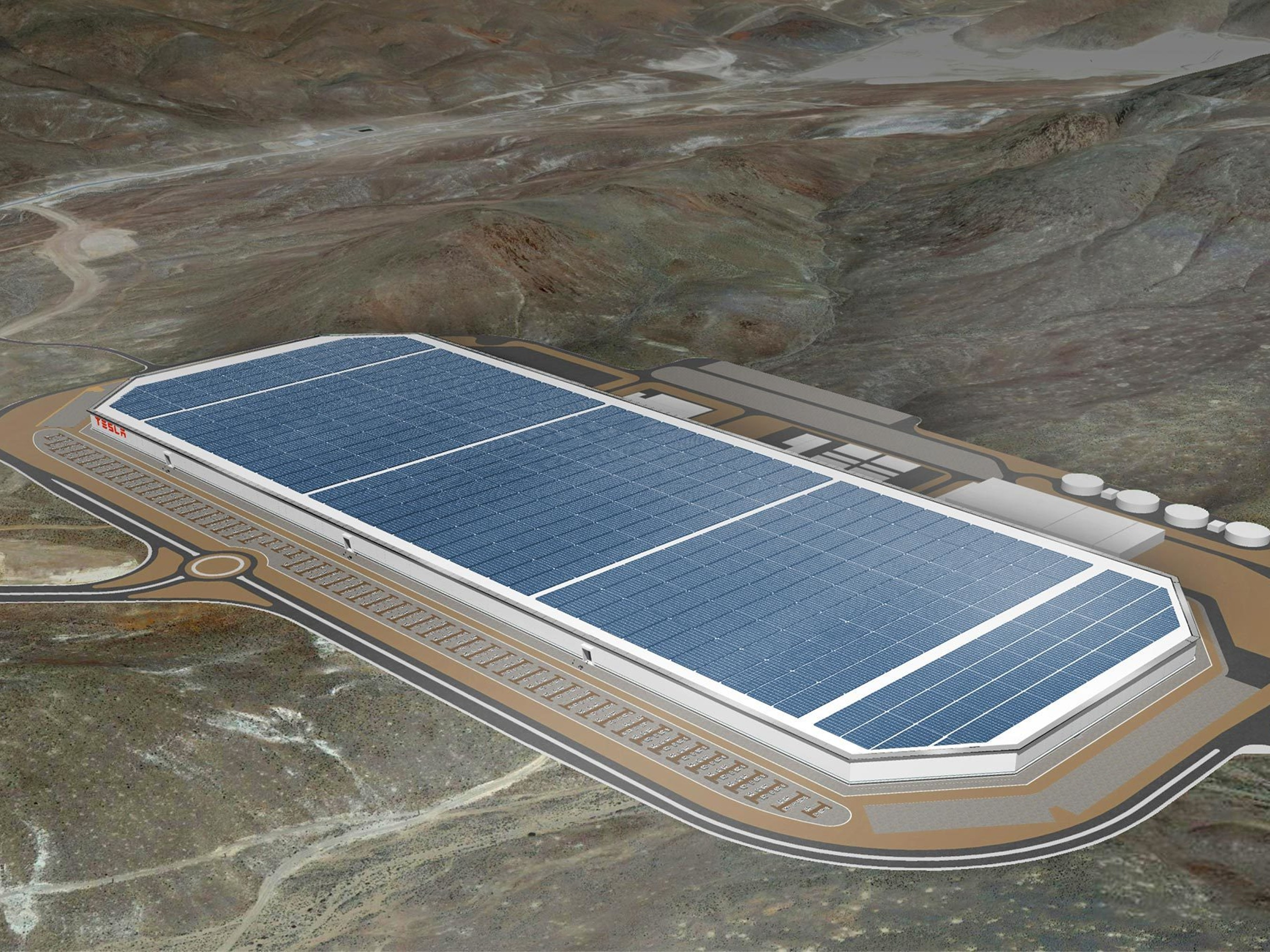 A rendering of the finished Gigafactory: Mind-bogglingly immense, and adorned with solar panels.