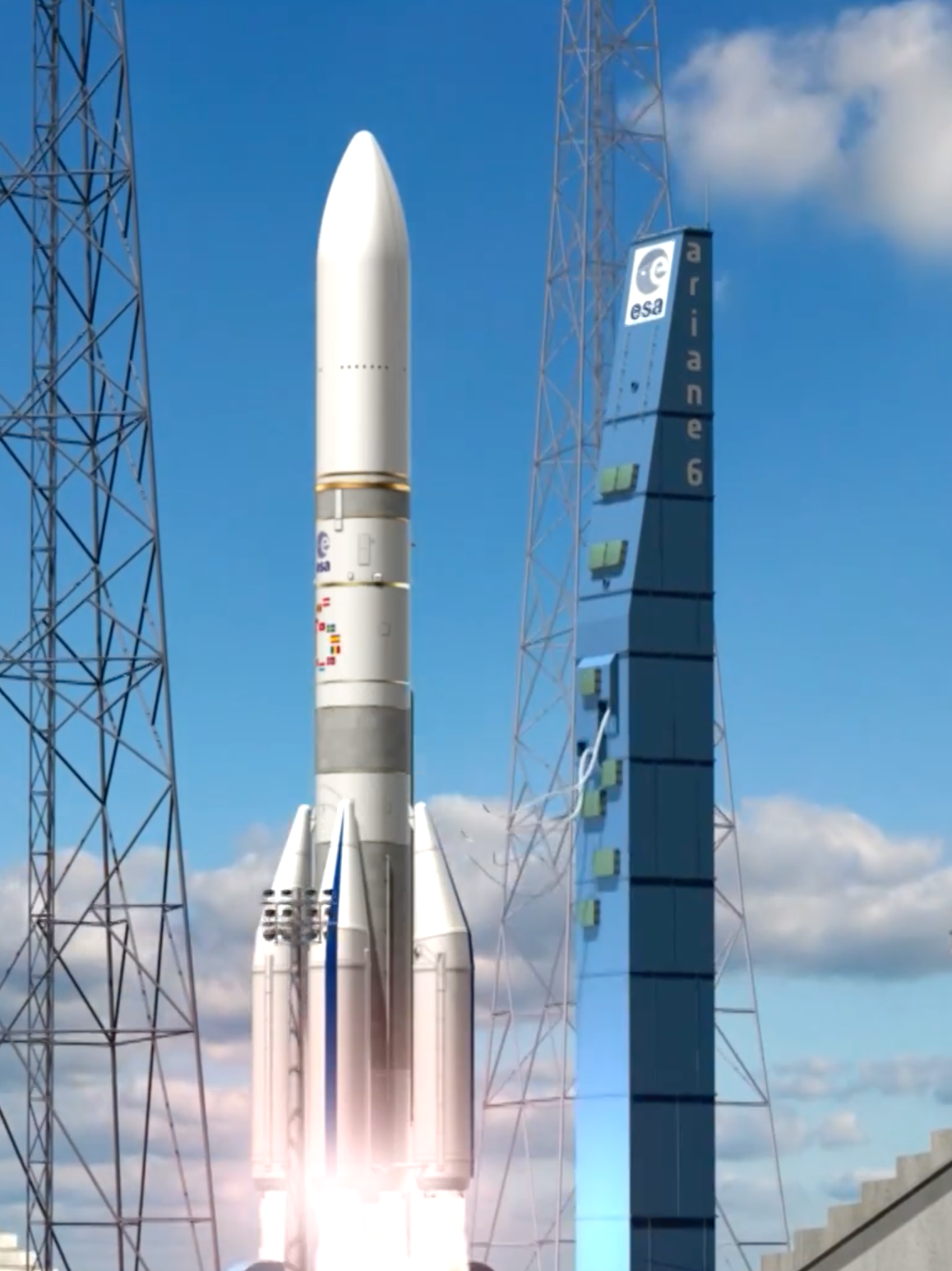 The European Space Agency launched a video of its Ariane 6 rocket, a modular three-stage launcher.