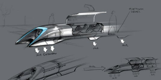 Musk's initial concept designs for Hyperloop, which his disciples at Arrivo want to run like SpaceX.