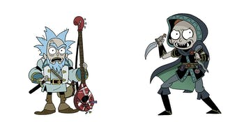 In the 'Rick and Morty' crossover with 'Dungeons & Dragons', Rick is a Bard and Morty is a Rogue.