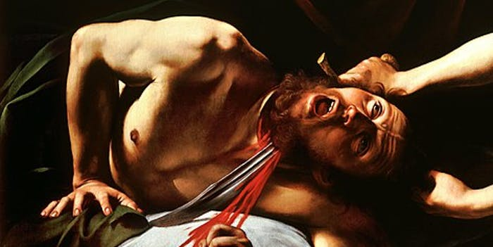 "Painting titled ""Judith Beheading Holofernes-Caravaggio."""